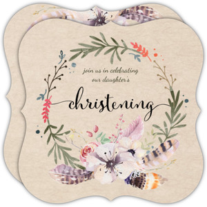Whimsical Floral And Feather Wreath Christening Invitation