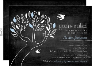 Chalkboard Blue Tree and Birds Christening Invitation