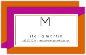 Faux Foil Monogram Business Card