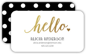 Faux Gold Foil Hello Business Card