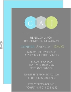 Modern Circles Monogram Christening Invitation
