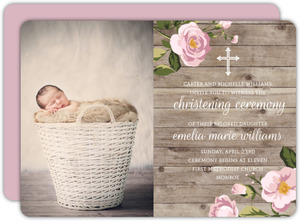 Rustic Roses And Wood Christening Invitation