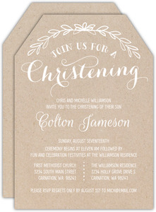 White Rustic Kraft Ticket Christening Invitation