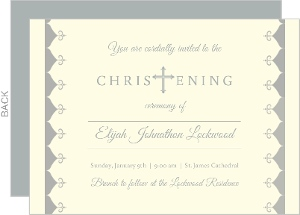 Cream And Gray Cross Christening Invitation