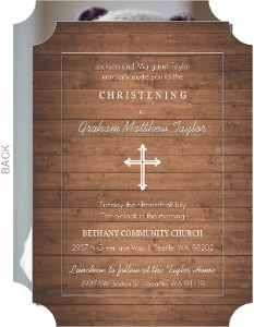 Woodgrain And Cross Christening Invitation