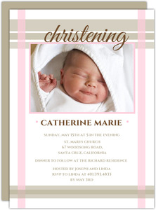 Pale Pink and Taupe Photo Christening Invitation
