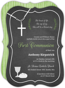 White and Green Chalkboard Communion Invitation