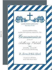 Classic Navy Blue Stripe Communion Invitation