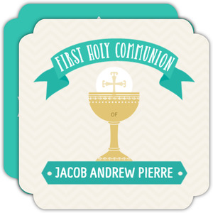 Retro Turquoise First Holy Communion Invitation