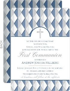 Formal Gray Blue Pattern First Communion Invitation