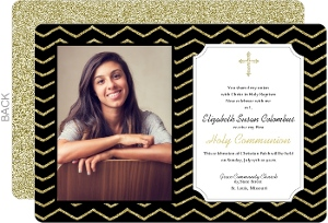 Faux Glitter Chevron Pattern Holy Communion Invitation