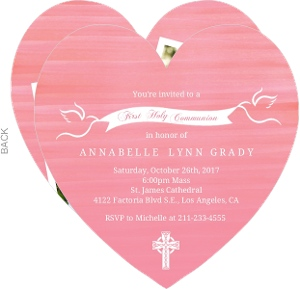 Pink Watercolor White Doves First Holy Communion Invitation