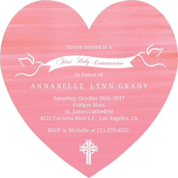Pink Watercolor White Doves First Holy Communion Invitation First