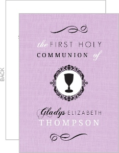 Elegant Purple And Black Cup Communion Invitation