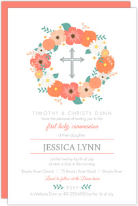 Floral Cross Monogram First Communion Invitation