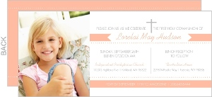 Modern Peach And White Photo First Communion Invitation