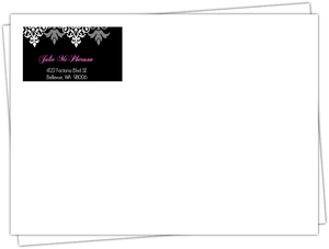 Black And Pink Flourish Sweet 16 Birthday Envelope