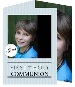 Black And Blue Monogram Cross First Holy Communion