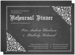 Vintage Decor Chalkboard Halloween Rehearsal Dinner Invitation
