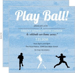 Blue Wood Grain Baseball Party Invitation