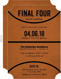 Rustic Black And Orange Basketball Invitation