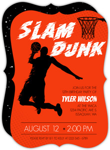 Bold Slam Dunk Silhouette Basketball Invitation