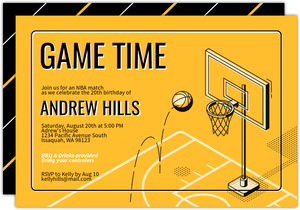 Modern Illustration Basketball Party Invitation