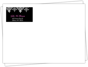 Black And Gray Flourish Quinceanera Envelope