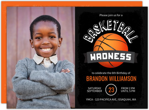 Basketball Madness Kids Birthday Party Invitation
