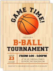 Indoor Basketball Tournament Party Invitation