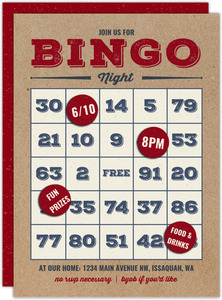 Rustic Bingo Game Night Invitation