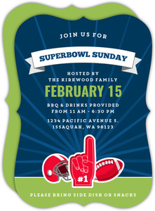 Number One Superbowl Football Party Invitation
