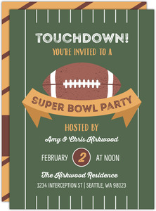 Football Field Super Bowl Party Invitation