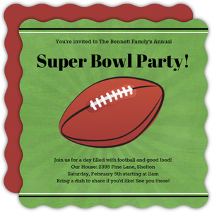 Green Linen Super Bowl Party Invitation