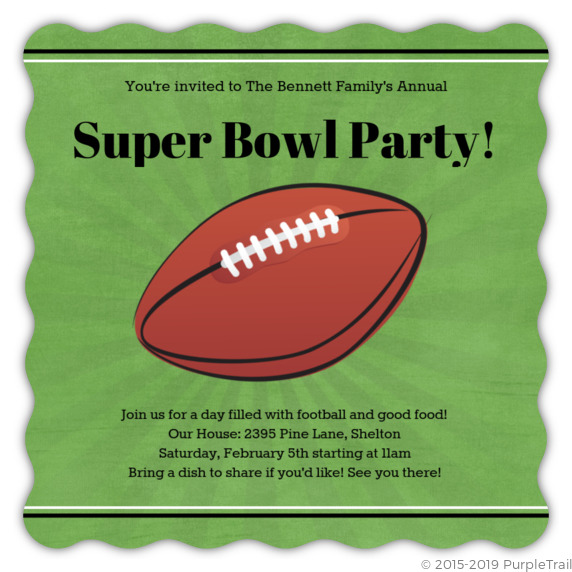 Green Linen Super Bowl Party Invitation Football Invitations