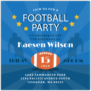 Blue Runningback Football Party Invitation