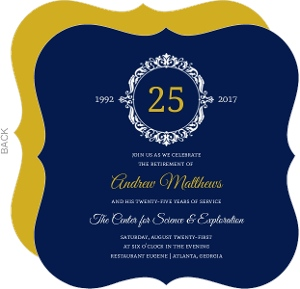 Navy and Gold Frame Business Retirement Invitation