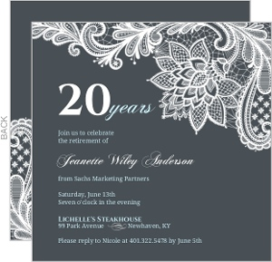 Grey Lace Business Retirement Invitation