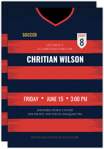 Soccer Jersey Birthday Party Invitation