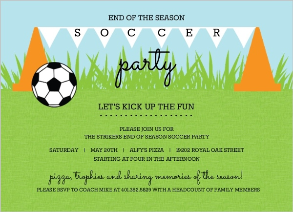 Cones And Flags Soccer Party Invitation Soccer Invitations