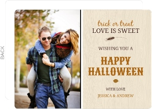 Fall Orange Brown Woodgrain Photo Halloween Card