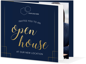 Navy and Faux Gold Business House Open Invitation