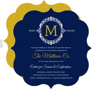 Navy and Gold Frame Corporate Open House Invitation
