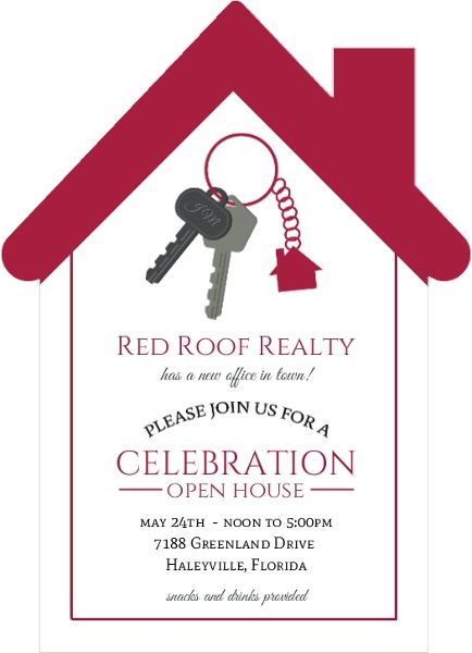 Red Roof Real Estate Open House Invitation Business Open House - Real estate open house invitation template