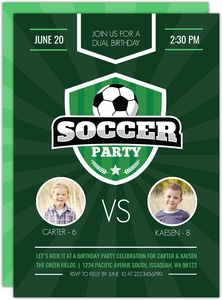 Dual Birthday Soccer Party Invitation