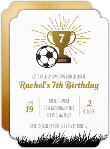 Faux Gold Trophy Soccer Party Invitation