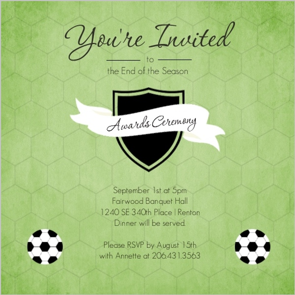 Green shield soccer award ceremony party invitation soccer green shield soccer award ceremony party invitation stopboris Image collections