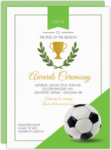 Green Soccer Award Ceremony Party Invitation
