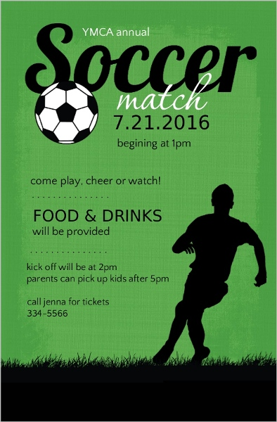Green And Black Soccer Match Sports Party Invitation 6497 Soccer