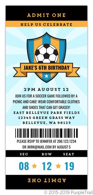 Blue Soccer Ball Sports Party Invitation